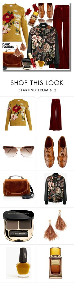 """""""Dark Florals"""" by pesanjsp ❤ liked on Polyvore featuring Allude, Racil, Thierry Lasry, Grenson, Maje, STELLA McCARTNEY, Dolce&Gabbana, Lizzie Fortunato, J.Crew and D&G"""