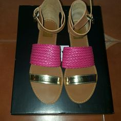 ♡JUST IN♡ NIB DOLCE VITA SANDALS Beautiful gold and hit pink sandals brand new in box! Sandals have an ankle buckle for closure and are soft and comfy! Make these beauties yours for summer wear! Make me an offer! Dolce Vita Shoes Sandals