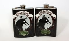 WANT!!!! Murder of Crows Bioshock inspired flask 8oz