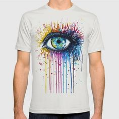 "(Unisex ""Rainbow Eye"" T-Shirt) #Abstract #Eye #Illustration #Painting #People #Rainbow is available on Funny T-shirts Clothing Store   http://ift.tt/2aDptdK"