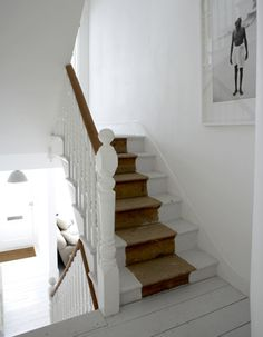 painted stairs, love the neutral mixed with natural