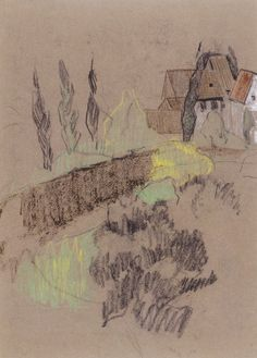 Paul Henri Sérusier (France, Paris, 1864-1927), Landscape in Brittany (recto); [Landscape with Houses (verso)], circa 1905-1910, Gift of Sam Katz by exchange (73.5a-b), #lacma