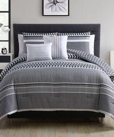 Another great find on #zulily! Black & Gray Malik Five-Piece Comforter Set #zulilyfinds