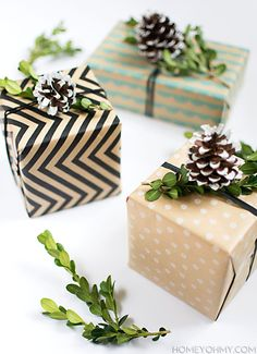 DIY Boxwood and Pine Cone Gift Toppers