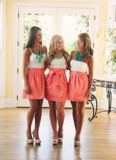 Bridesmaid Skirts - super adorable!  I found a video on youtube on how to wrap your convertible dress into a sexy skirt with a cami underneath ... what u think?