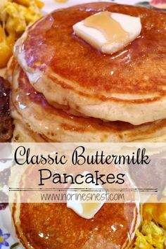 Light, Fluffy, Melt-in-your-mouth Classic Buttermilk Pancakes. They are super Ea… Light, Fluffy, Melt-in-your-mouth Classic Buttermilk Pancakes. They are super Easy and the BEST homemade pancake on the planet! Best Homemade Pancakes, Best Pancake Recipe, Pancake Recipes, Waffle Recipes, Breakfast Items, Breakfast Dishes, Breakfast Recipes, Breakfast Pancakes, Pancake Healthy