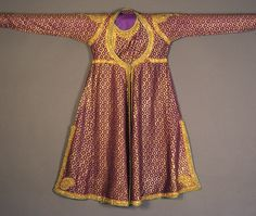 Robe of purple and gold brocade trimmed with embroidery, Indian, 1950-75, KSUM 1983.1.939.