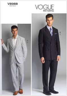 Mens Jacket and Trousers Vogue Pattern 8988.