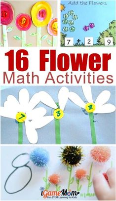 fun flower math activities for preschool and kindergarten kids, most will end with a flower craft, which will be a great gift idea for Mother's Day or birthday. Fun spring and summer math learning activities for kids. Kids Math Worksheets, Steam Activities, Science Activities For Kids, Math For Kids, Science Experiments Kids, Library Activities, Children Activities, Fun Math, Maths