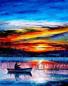 """Morning Fishing — PALETTE KNIFE Seascape Modern Wall Art Textured Oil Painting On Canvas By Leonid Afremov - Size: 24"""" x 30"""" (60 cm x 75 cm)"""