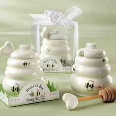 Significado à abelha pote de mel cerâmica com concha de madeira - BRL R$ 20,49