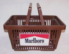 MARLBORO - Plastic Brown Shopping Basket - Supermarket Tobacco Advertising #Marlboro #vintagephilly