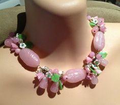 Vintage Miriam Haskell Pate de Vere Poured Glass Pink Floral Fruit Necklace | eBay