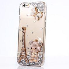 64fec7d6934 $6.99 - Glitter Bling Diamonds Butterfly Tower Pearls Bear Hard Back Shell  Case Cover I #