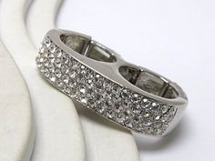 WHOLESALE CRYSTAL STUD THICK DUAL FINGER STRETCH RING