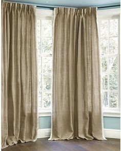 Burlap Pleated Panel With Fringed Edge   Traditional   Curtains     By Ballard  Designs