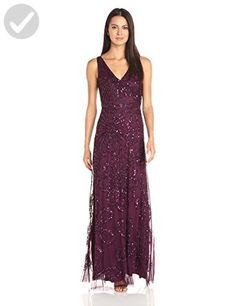 Adrianna Papell Women's Sleeveless Wrap Front Beaded Gown, Cassis, 6 - All about women (*Amazon Partner-Link)