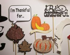 "Thanksgiving will never be the same-make fun memories with these fun Photo Booth Props!Includes:1-Pilgrim Hat2-Glasses3-Mustache4-Pipe5-""I'm thankful for..."" si"