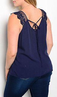 Plus Size Navy Crochet Top from Chloe's Boutique. www.ShopChloes.com