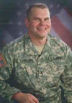 Army Sgt. Thomas E. Vandling Jr.  Died January 1, 2007 Serving During Operation Iraqi Freedom  26, of Pittsburgh; assigned to the 303rd Psychological Operations Company, Oakdale, Pa., a subordinate unit of the U.S. Army Civil Affairs and Psychological Operations Command (Airborne), Fort Bragg, N.C.; died Jan. 1 of wounds sustained when an improvised explosive device detonated near his vehicle while on combat patrol in Baghdad.