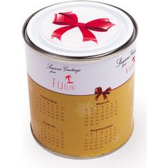 Calendar Tin with Lindor Milk Chocolates!  Our large calender tin is fully branded with a calendar wrap around the tin and dome label on the lid. can be filled with milk chocolate Lindors or white chocolate Lindors #Christmas #chocolate #gift #promo
