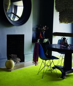 Green Floor and Dark Walls!