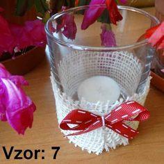 Svietnik sklenený s mašľou - Sviečka - S čajovou sviečkou (plus 0,10€), Vzor - Vzor 7