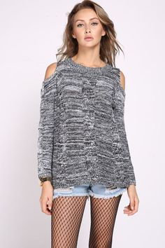 Grey Long Sleeve O-Neck Hollow Sweater