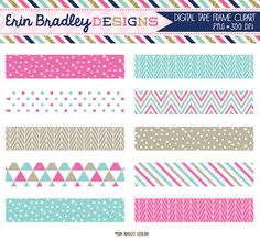 Pink and Blue Digital Washi Tape Clipart Graphics Personal & Commercial Use Clip Art