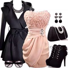 Baby pink and black