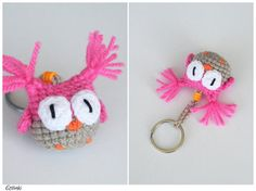 Crochet Owl Amigurumi,Cute Pink Keychain,Pink Bag Charm,Miniature Amigurumi Owl Keyring,Owl Ornament,Small Gift for Her,Keychains for Kids