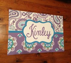 large personalized nursery art- Hand-painted -  Inspired by Brooklyn bedding- purple lavender teal aqua paisleys by addilyneli on Etsy https://www.etsy.com/listing/165866142/large-personalized-nursery-art-hand