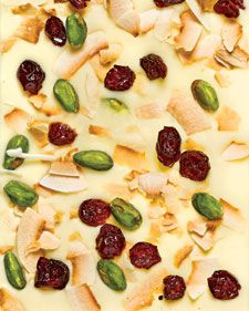 pistachio, dried cranberry & toasted coconut bark