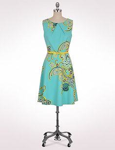 Belted Paisley Pleat Neck Dress...to cute on with bright yellow cardigan.