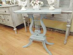 aqua shabby chic coastal side table by VintageChicFurniture, $165.00