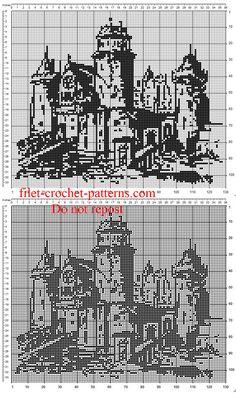 The castle free crochet filet painting