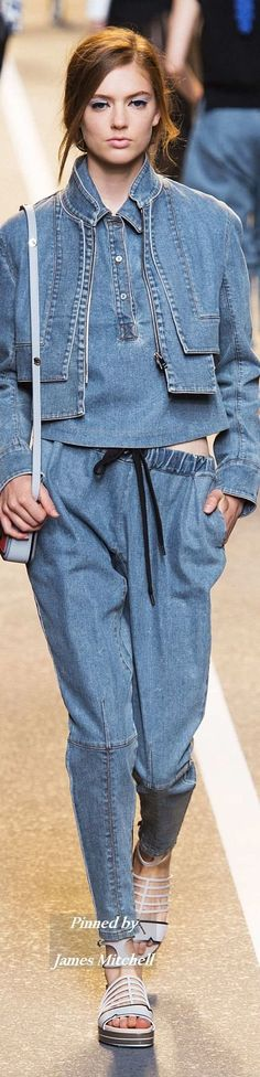 FENDI Collection Spring 2015 Ready-to-Wear Denim detail inspiration.