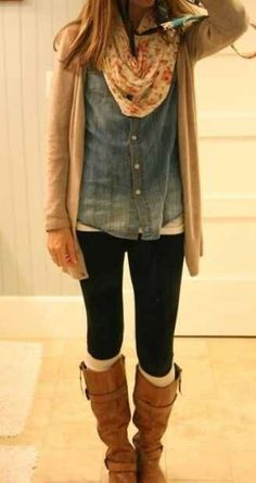 ~Floral scarf, denim shirt, kit sweater, leggings and casual boots~