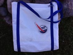 Tote bag made from a retired, repurposed sail, Bower Sails logo on zipper pocket, recycled sails, durable, weekend getaway, travel, beach by Sailknot on Etsy