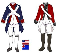Continental Army and British Uniforms during the American Revolutionary War. American Revolutionary War, American Civil War, American History, British History, Native American, Napoleon, Independence War, Soldier Costume, Marine Uniform
