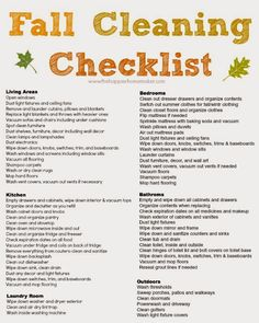 Fall Cleaning Checklist....for my Thanksgiving break...