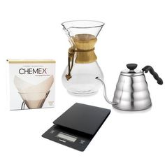 Buy the Chemex Coffee Maker with all the accessories that will help you perfect your brew including a scale and pour-over kettle