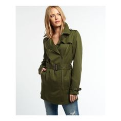 Superdry Draped Trench Coat ($62) ❤ liked on Polyvore featuring outerwear, coats, green, lined trench coat, superdry, green coat, zip trench coat and lightweight coat