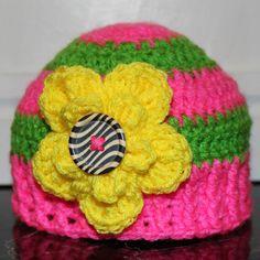 Baby Flower Beanie Crochet Pattern