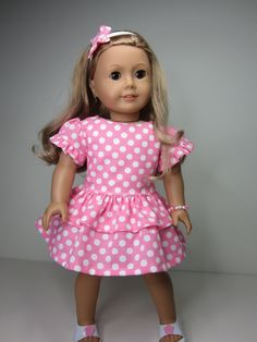 American Girl doll clothes Pink  party dress with by JazzyDollDuds, $17.00