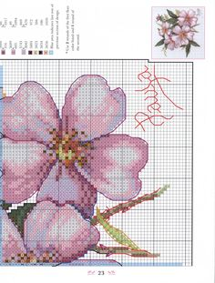 4 Cross Stitching, Cross Stitch Embroidery, Flower Pillow, Cross Stitch Flowers, Diy And Crafts, Crochet, Floral, Pattern, Crossstitch