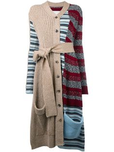 Maison Margiela contrast striped long cardigan