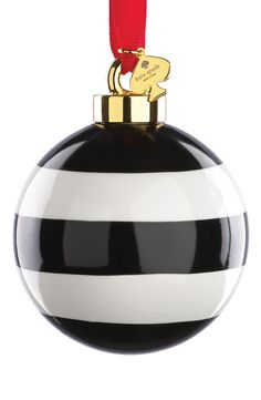 Obsessing over this adorable black and white striped Kate Spade ornament that would look too cute on the tree.