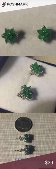 Gorgeous REAL Natural emerald earrings Beautiful natural real elegant emerald pierce earrings size is 10x10mm size of emerald approximately 3x3mm set in silver inlay to protect stones and prevent tarnish gorgeous piece of jewelry nwt Jewelry Earrings