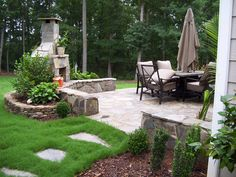 Outdoor fireplace and patio - very nice layout